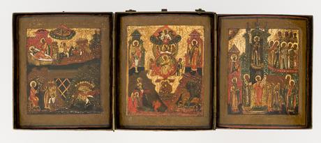 Sehr seltenes Triptychon mit ungewöhnlicher Darstellung / Very rare triptych with an unusual motif
